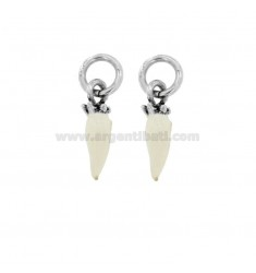 HORN PENDANT PZ 2 MM 18X5 SILVER microcast BRUNITO TIT 800 ‰ AND WHITE ENAMEL