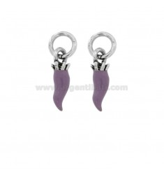 PENDANT HORN PZ 2 MM 18X5 SILVER microcast BRUNITO TIT 800 ‰ AND ENAMEL LILAC
