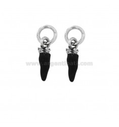 PENDANT HORN PZ 2 MM 18X5 SILVER microcast BRUNITO TIT 800 ‰ AND ENAMEL BLACK