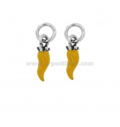 PENDANT HORN PZ 2 MM 18X5 SILVER microcast BRUNITO TIT 800 ‰ AND ENAMEL YELLOW