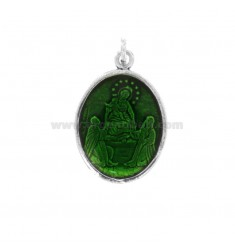 PENDANT OVAL MADONNA DI POMPEI IN BRUNITO SILVER TIT 925 AND GREEN ENAMEL