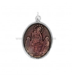 PENDANT OVAL MADONNA OF POMPEI IN SILVER BRUNITO TIT 925 AND ENAMEL PINK