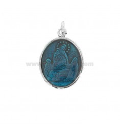 PENDANT OVAL MADONNA WITH CHILD IN SILVER BRUNITO TIT 925 AND ENAMEL TURQUOISE