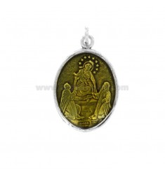 PENDANT OVAL MADONNA WITH CHILD IN SILVER BRUNITO TIT 925 AND YELLOW ENAMEL