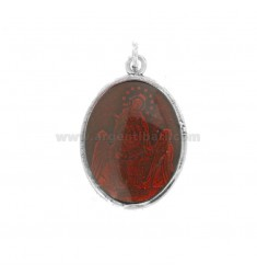 ANHÄNGER OVAL MADONNA DI POMPEI IN BRUNITO SILBER TIT 925 UND ROTEMAIL