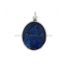 PENDANT OVAL MADONNA WITH CHILD IN SILVER BRUNITO TIT 925 AND ENAMEL BLUE