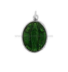 PENDANT OVAL MADONNA OF LOURDES SILVER BRUNITO TIT 925 AND SMALTO GREEN