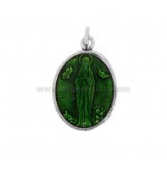 PENDANT OVAL MADONNA OF LOURDES SILVER BRUNITO TIT 925 AND SMALTO GREEN