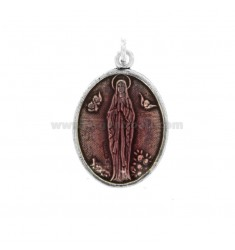 PENDANT OVAL MADONNA OF LOURDES SILVER BRUNITO TIT 925 AND SMALTO ROSA