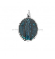 PENDANT OVAL MADONNA OF LOURDES SILVER BRUNITO TIT 925 AND ENAMEL TURQUOISE