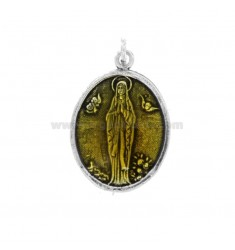 PENDANT OVAL MADONNA OF LOURDES SILVER BRUNITO TIT 925 AND YELLOW ENAMEL