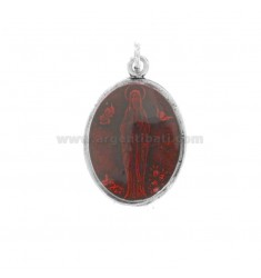 PENDANT OVAL MADONNA OF LOURDES SILVER BRUNITO TIT 925 AND SMALTO ROSSO