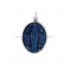 PENDANT OVAL MADONNA OF LOURDES SILVER BRUNITO TIT 925 AND SMALTO BLUE