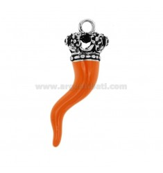 HORN PENDANT CORONA THROUGH 38 MM SILVER microcast BRUNITO TIT 800 ‰ AND ENAMEL ORANGE