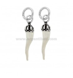 PENDANT PZ 2 HORN MM 28X6 WITH CROWN IN SILVER microcast AND BRUNITO TIT 800 ‰ AND WHITE ENAMEL