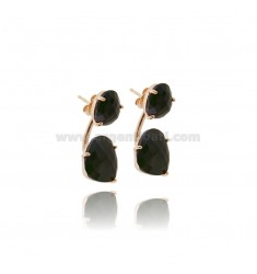 EARRINGS DOUBLE SASSOLINO STONES HYDROTHERMAL BLACK 7 IN SILVER ROSE GOLD PLATED TIT 925