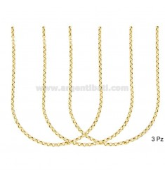 CHAIN 3 PCS ROLO 'DIAMETER MM 2.6 MM THICKNESS 0.8 SILVER GOLD TIT 925 ‰ CM 50