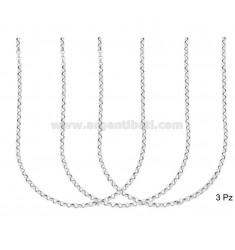CHAIN 3 ROLO 'DIAMETER CAMISA MM 2.6 MM ESPESOR 0.8 PLATA RODIO TIT 925 ‰ CM 40