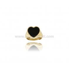 RING MIGNOLO WITH HEART OF BLACK AGATE IN SILVER GOLDEN TIT 925 MIS FROM 9
