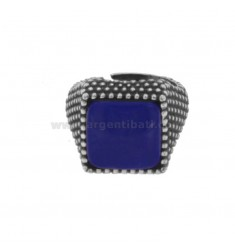 13X13 MM SQUARE RING WITH SILVER MICRO SILVER BRUNITO TIT 925 ‰ E LAPIS SIZE ADJUSTABLE FROM MIGNOLO
