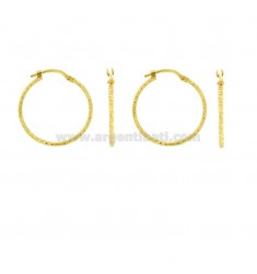 EARRINGS 2 COUPLES A CIRCLE DIAMETER 20 MM A DIAMONDED TUBE 1.2 MM IN SILVER GOLD TIT 925