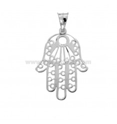 CIONDOLO MANO DI FATIMA MEDIA MM 29X19 IN ARGENTO RODIATO TIT 925