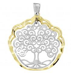 Anhänger Baum des Lebens 35 mm Silber RHODIUM UND GOLDEN TIT 925 ‰