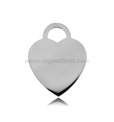 HEART MM 30X24 THICKNESS MM 1,1 IN SILVER RHODIUM TIT 925