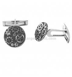 ROUND CUFFLINKS 15 MM WITH GEARS IN SILVER RHODIUM AND RUTHENIUM TIT 925 ‰