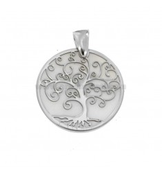 PENDANT TREE OF LIFE 25 MM SILVER RHODIUM TIT 925 M AND MOTHER OF PEARL