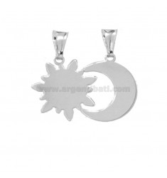 PENDANT SUN AND DIVIDED MOON 18x27 MM SILVER RHODIUM TIT 925