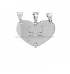 PENDANT HEART AND PUZZLE DIVIDED 3 MM 22X25 SILVER RHODIUM TIT 925