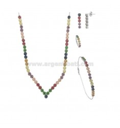 PARURE 4 PIECES FLOWERS WITH PAVE 'OF ZIRCONIA RAINBOW IN SILVER RHODIUM TIT 925 ‰