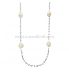LACE WITH ZIRCONIA AND PEARLS IN SILVER RHODIUM TIT 925 CM 120