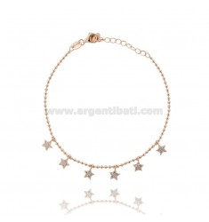 BALL BRACELET WITH PENDANT STARS IN ROSE SILVER TIT 925 ‰ AND WHITE ZIRCONS 17-20 CM