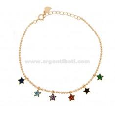 BRACELET BALL MIT PENDING STARS IN SILVER ROSE TIT 925 M UND MULTICOLOR ZIRCONIA CM 17-20