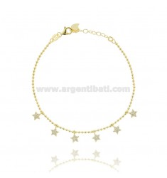 BALL BRACELET WITH PENDANT STARS IN SILVER GOLDEN TIT 925 ‰ AND WHITE ZIRCONIA CM 17-20