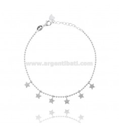BALL BRACELET WITH PENDANT STARS SILVER RHODIUM TIT 925 ‰ AND WHITE ZIRCONIA CM 17-20