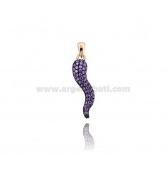 HORN PENDANT 29X8 MM ROSE SILVER TIT 925 ‰ AND PURPLE ZIRCONIA