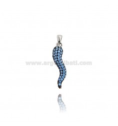 HORN PENDANT 29X8 MM SILVER RHODIUM TIT 925 ‰ AND CELESTIAL ZIRCONIA
