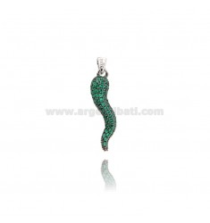 HORN PENDANT 29X8 MM SILVER RHODIUM TIT 925 ‰ AND GREEN ZIRCONIA