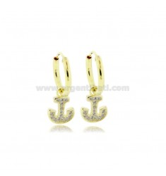 EARRINGS WITH CIRCLE DIAMETER 10 MM WITH STILL PENDANT IN GOLDEN SILVER TIT 925 ‰ AND ZIRCONIA
