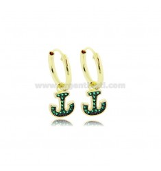 EARRINGS WITH A CIRCLE DIAMETER 10 MM WITH STILL PENDANT IN GOLDEN SILVER TIT 925 ‰ AND GREEN ZIRCONS