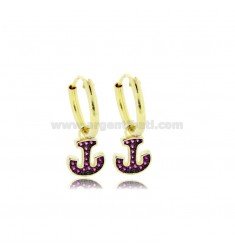 HOOP EARRINGS DIAMETER 10 MM WITH ANCHOR PENDANT IN SILVER GOLDEN TIT 925 ‰ AND RED ZIRCONIA