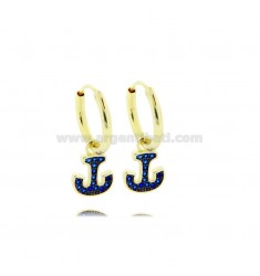 HOOP EARRINGS DIAMETER 10 MM WITH ANCHOR PENDANT IN SILVER GOLDEN TIT 925 ‰ AND BLUE ZIRCONS