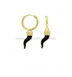 EARRINGS WITH A CIRCLE DIAMETER 10 MM WITH HORN CORONA PENDANT IN SILVER SILVER TIT 925 ‰ AND ZIRCONIA BLACK