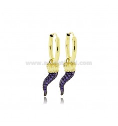 EARRINGS WITH A CIRCLE DIAMETER 10 MM WITH HORN CORONA PENDANT IN SILVER SILVER TIT 925 ‰ AND ZIRCONIA PURPLE