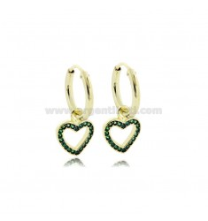 EARRINGS WITH A CIRCLE DIAMETER 10 MM WITH A HEART CONTOUR PENDANT IN SILVER SILVER TIT 925 ‰ AND GREEN ZIRCONIA
