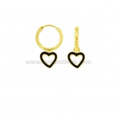 EARRINGS WITH A CIRCLE DIAMETER 10 MM WITH A HEART CONTOUR WITH A PENDANT SILVER SILVER TIT 925 ‰ AND BLACK ZIRCONS
