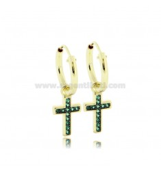 EARRINGS WITH A CIRCLE DIAMETER 10 MM WITH CROSS PENDANT IN SILVER SILVER TIT 925 ‰ AND GREEN ZIRCONIA